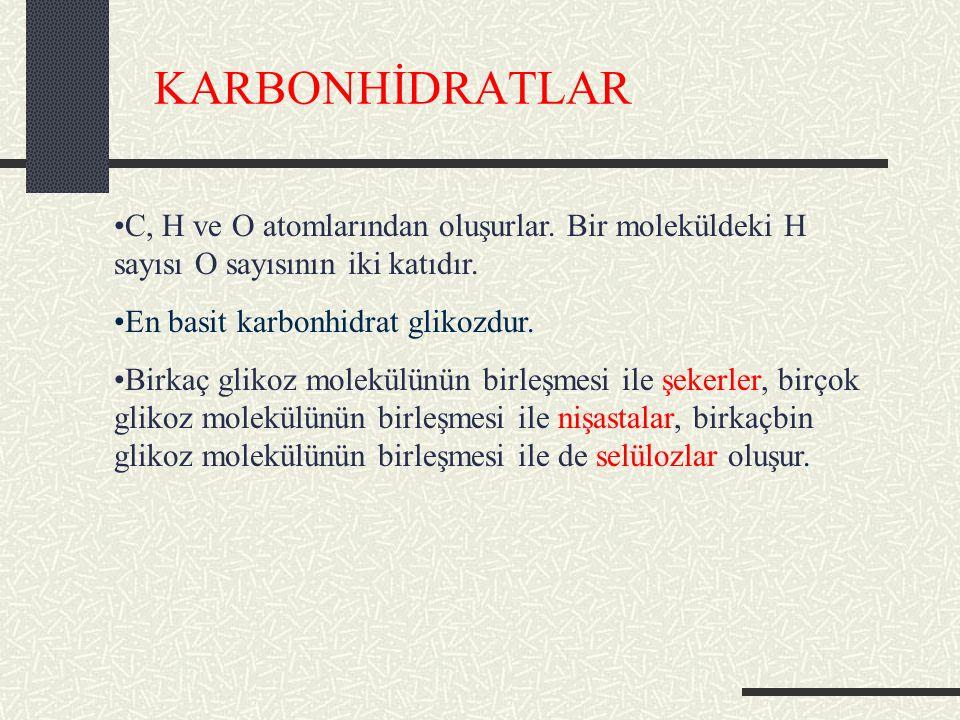 KARBONHİDRATLAR C, H ve O atomlarından oluşurlar. Bir moleküldeki H sayısı O sayısının iki katıdır.