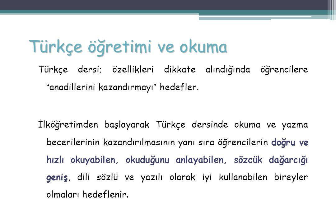 Türkçe öğretimi ve okuma