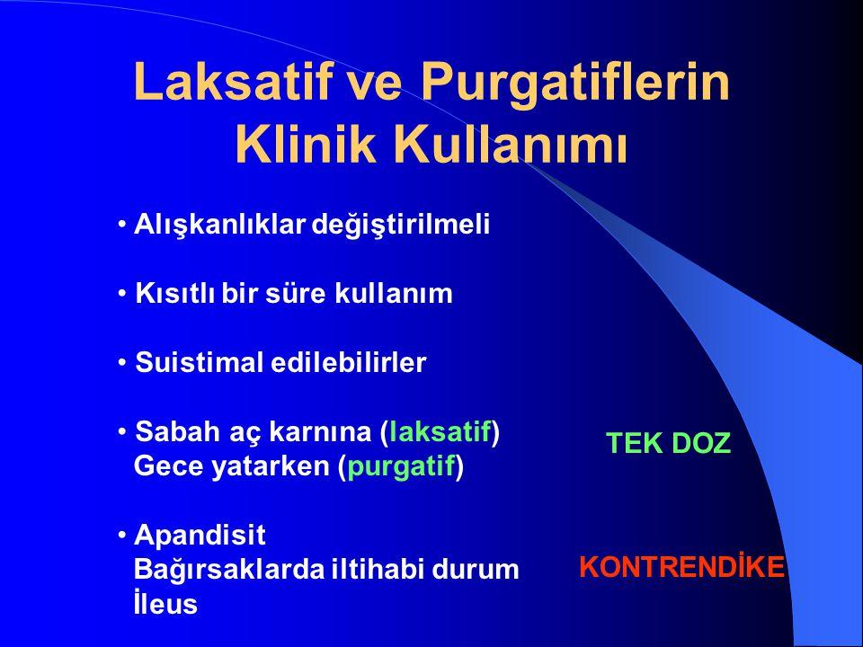 Laksatif ve Purgatiflerin Klinik Kullanımı