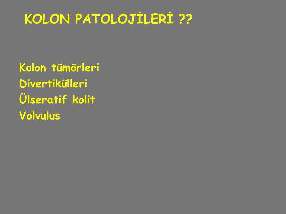 KOLON PATOLOJİLERİ Kolon tümörleri Divertikülleri Ülseratif kolit