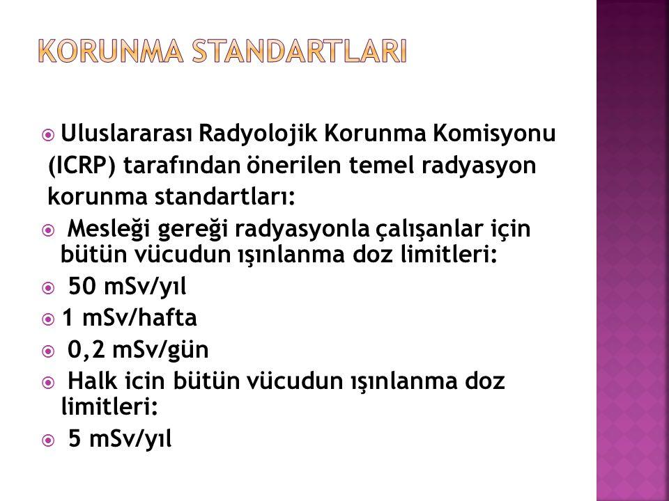 KORUNMA STANDARTLARI Uluslararası Radyolojik Korunma Komisyonu