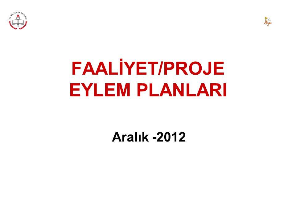 FAALİYET/PROJE EYLEM PLANLARI