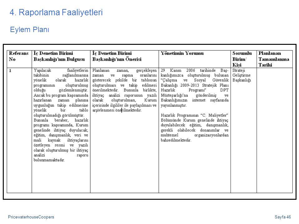 4. Raporlama Faaliyetleri