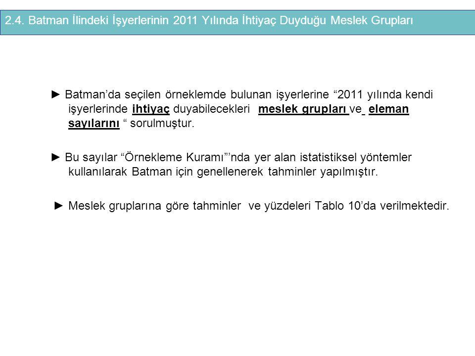 2.4. Batman İlindeki İşyerlerinin 2011 Yılında İhtiyaç Duyduğu Meslek Grupları