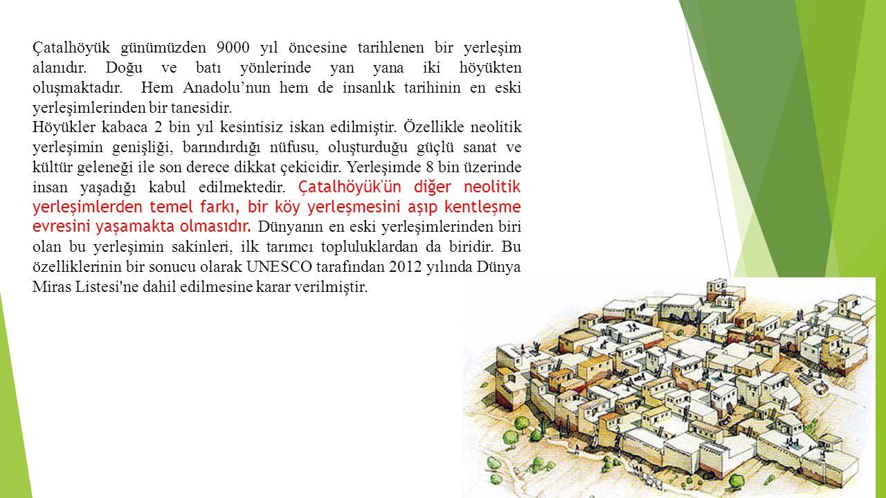 Çatalhöyük günümüzden 9000 yıl öncesine tarihlenen bir yerleşim alanıdır. Doğu ve batı yönlerinde yan yana iki höyükten oluşmaktadır. Hem Anadolu'nun hem de insanlık tarihinin en eski yerleşimlerinden bir tanesidir.