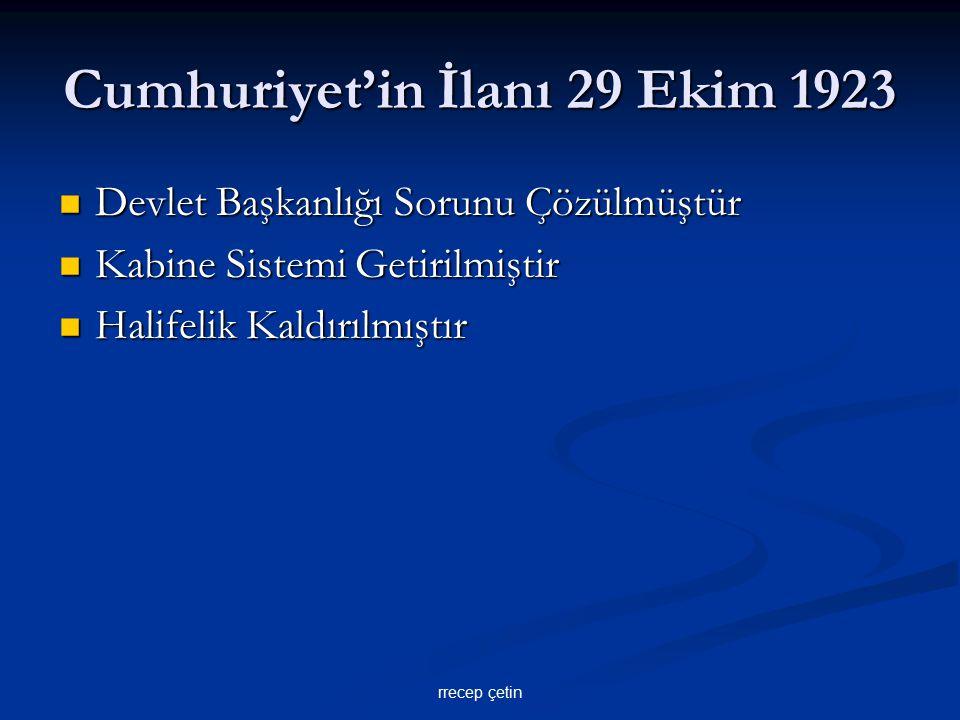 Cumhuriyet'in İlanı 29 Ekim 1923