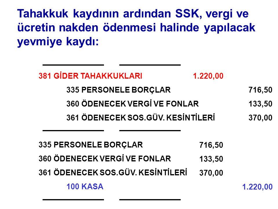 Tahakkuk kaydının ardından SSK, vergi ve ücretin nakden ödenmesi halinde yapılacak yevmiye kaydı: