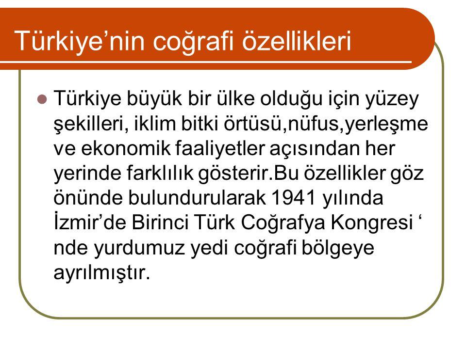 Türkiye'nin coğrafi özellikleri