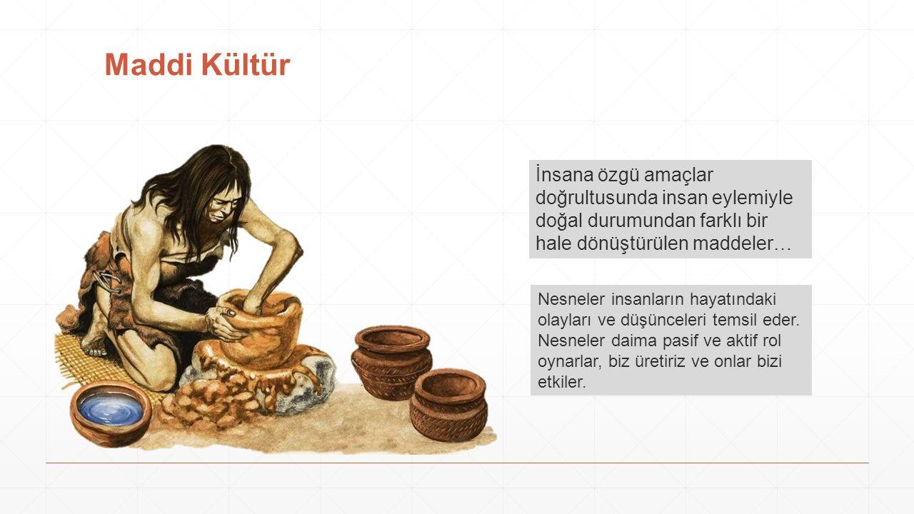 Maddi Kültür İnsana özgü amaçlar doğrultusunda insan eylemiyle doğal durumundan farklı bir hale dönüştürülen maddeler…