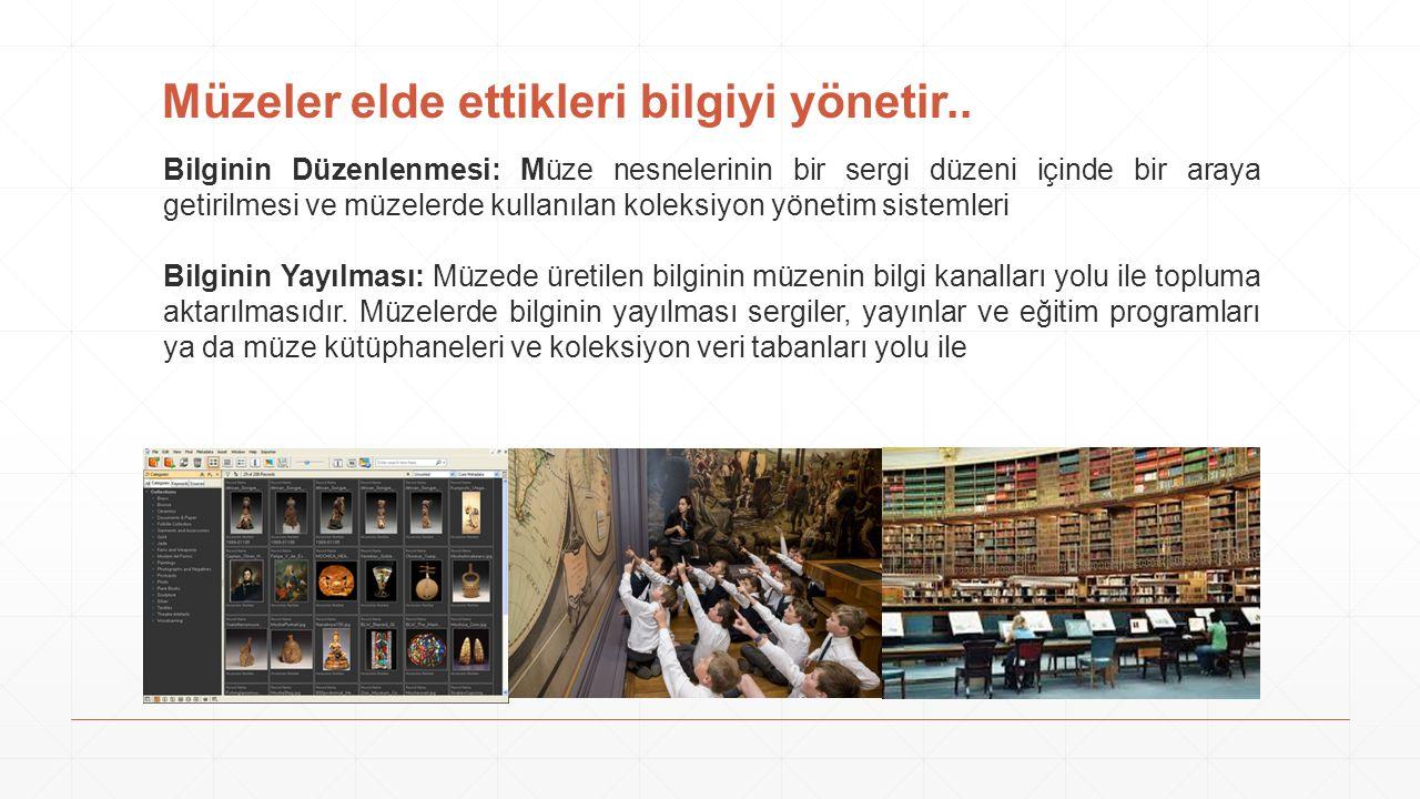 Müzeler elde ettikleri bilgiyi yönetir..