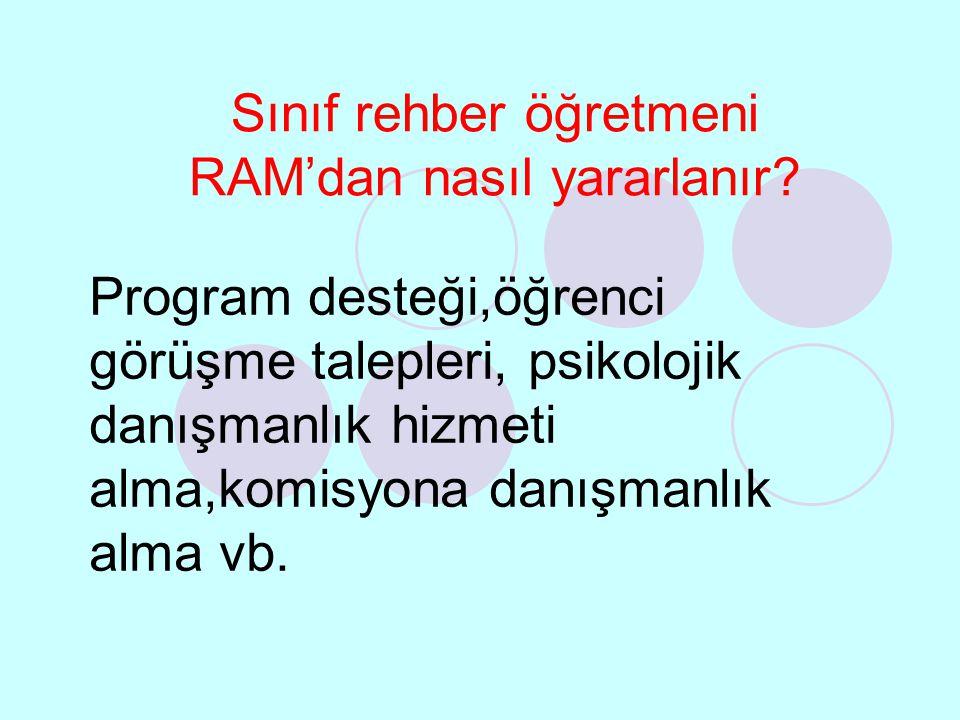 Sınıf rehber öğretmeni RAM'dan nasıl yararlanır