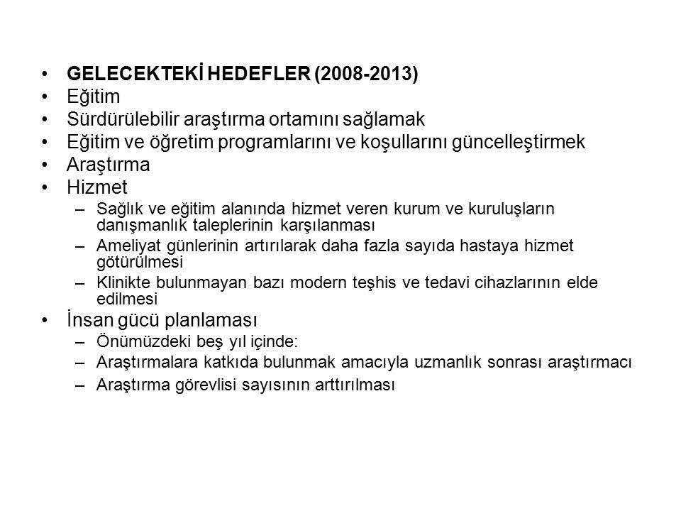 GELECEKTEKİ HEDEFLER (2008-2013) Eğitim