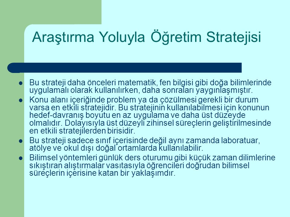 Araştırma Yoluyla Öğretim Stratejisi