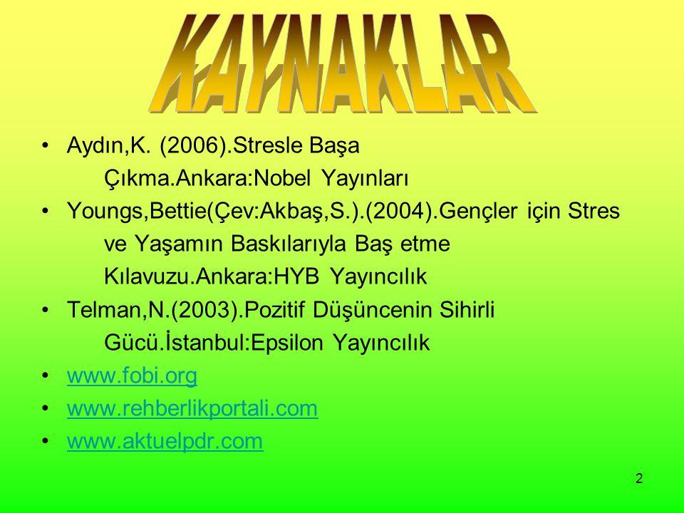 KAYNAKLAR Aydın,K. (2006).Stresle Başa Çıkma.Ankara:Nobel Yayınları