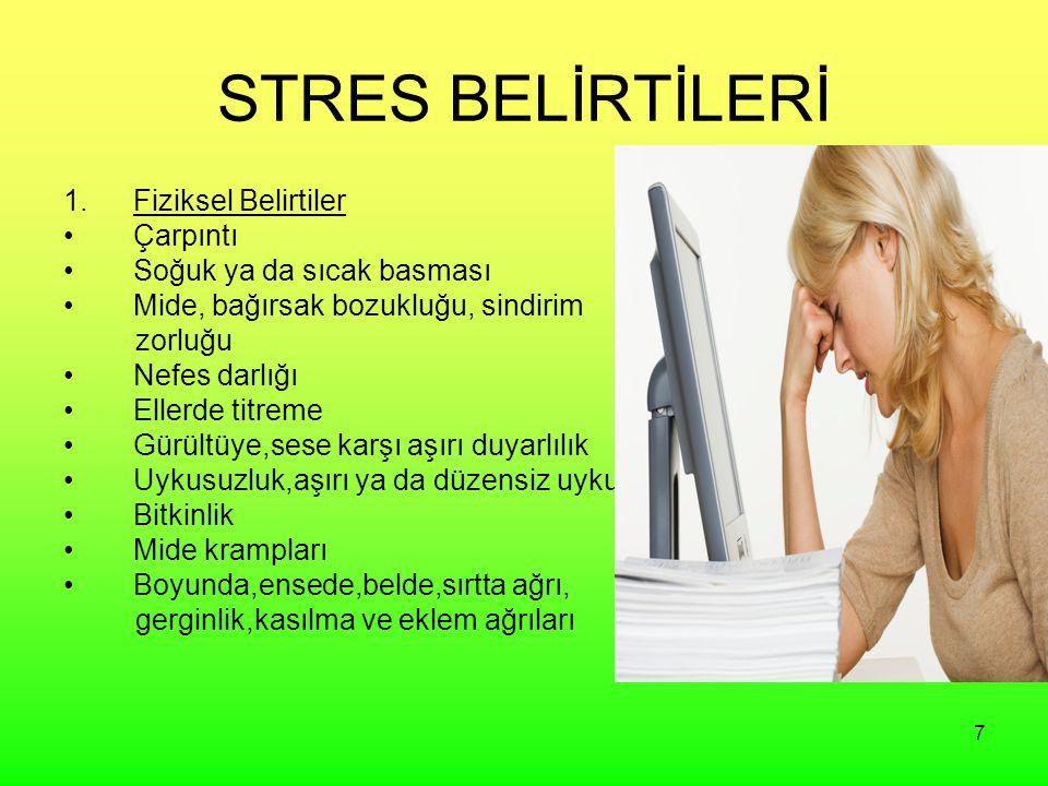STRES BELİRTİLERİ Fiziksel Belirtiler Çarpıntı