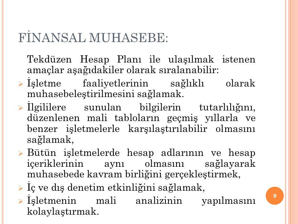 FİNANSAL MUHASEBE: Tekdüzen Hesap Planı ile ulaşılmak istenen amaçlar aşağıdakiler olarak sıralanabilir: