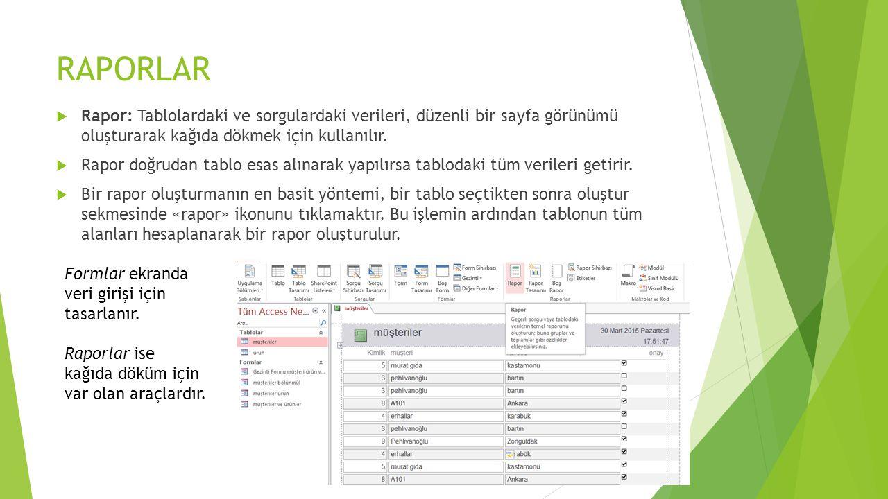RAPORLAR Rapor: Tablolardaki ve sorgulardaki verileri, düzenli bir sayfa görünümü oluşturarak kağıda dökmek için kullanılır.