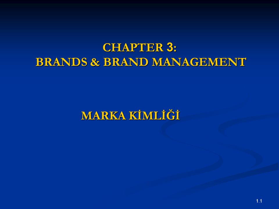 CHAPTER 3: BRANDS & BRAND MANAGEMENT