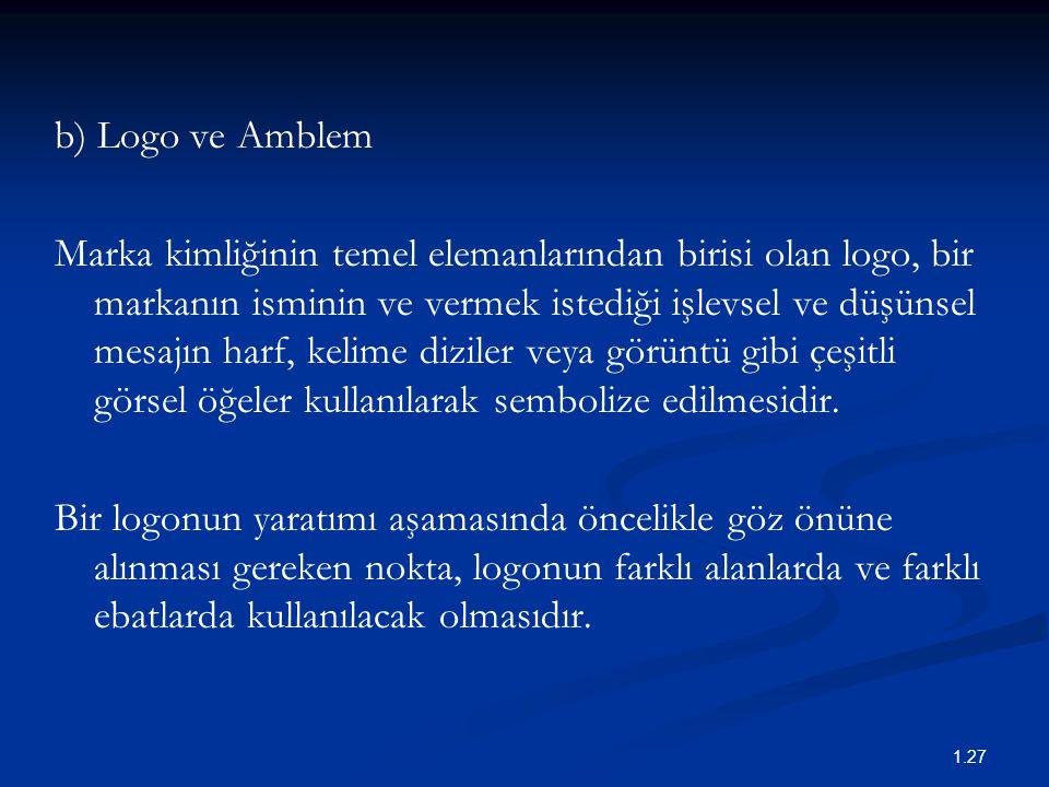 b) Logo ve Amblem