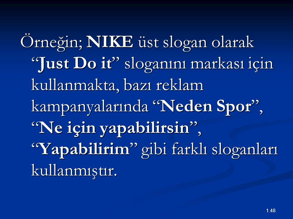 Örneğin; NIKE üst slogan olarak Just Do it sloganını markası için kullanmakta, bazı reklam kampanyalarında Neden Spor , Ne için yapabilirsin , Yapabilirim gibi farklı sloganları kullanmıştır.