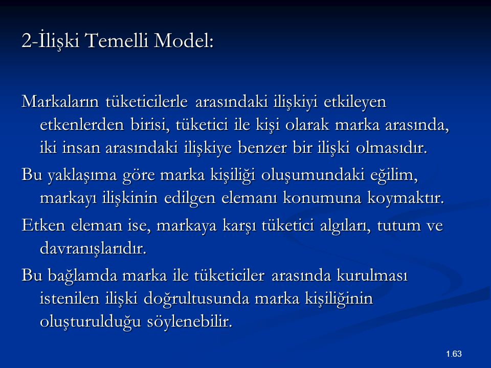 2-İlişki Temelli Model:
