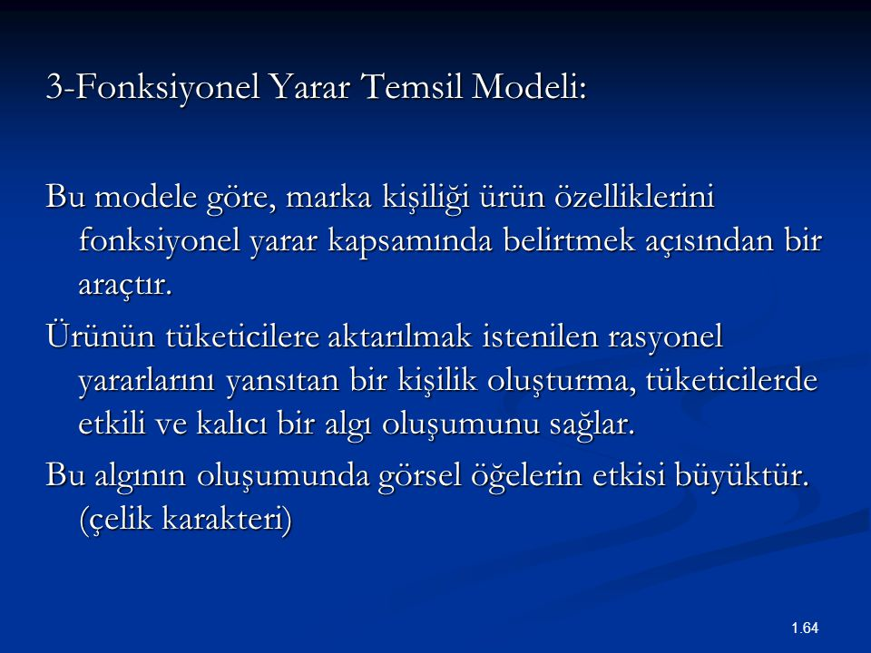 3-Fonksiyonel Yarar Temsil Modeli: