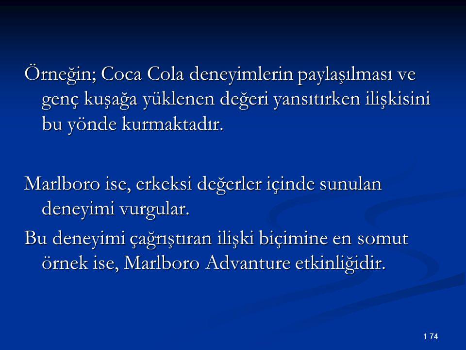 Örneğin; Coca Cola deneyimlerin paylaşılması ve genç kuşağa yüklenen değeri yansıtırken ilişkisini bu yönde kurmaktadır.