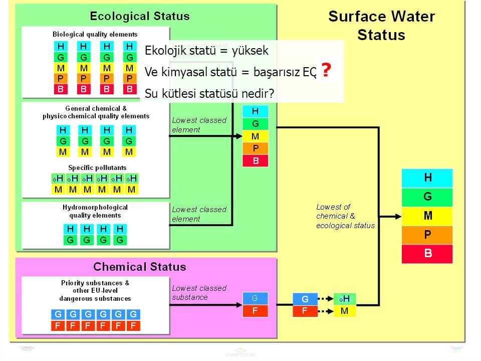 Ekolojik statü = yüksek Ve kimyasal statü = başarısız EQS