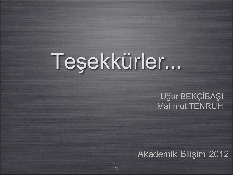 Teşekkürler... Uğur BEKÇİBAŞI Mahmut TENRUH Akademik Bilişim 2012 21