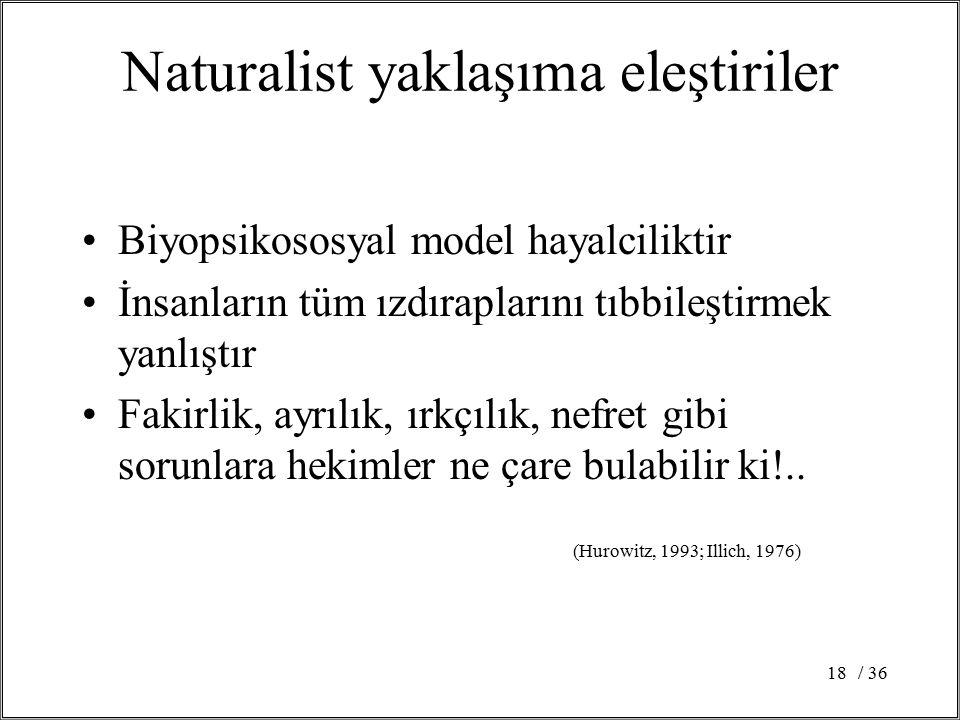Naturalist yaklaşıma eleştiriler