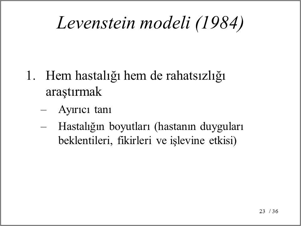 Levenstein modeli (1984) Hem hastalığı hem de rahatsızlığı araştırmak