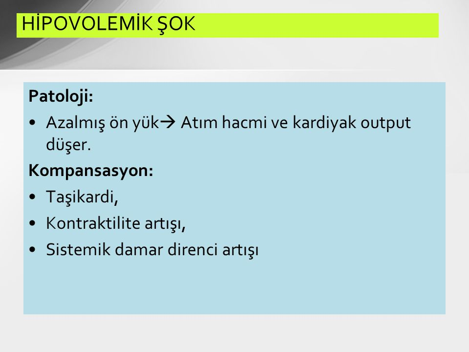 HİPOVOLEMİK ŞOK Patoloji:
