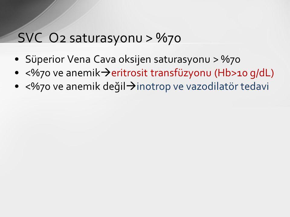 SVC O2 saturasyonu > %70