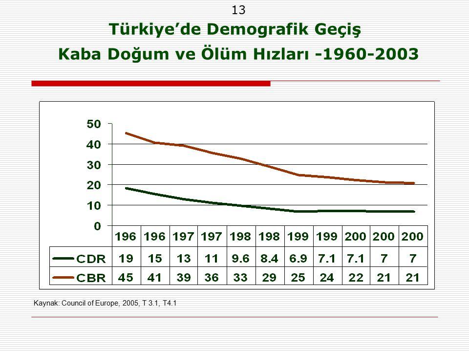 13 Türkiye'de Demografik Geçiş Kaba Doğum ve Ölüm Hızları -1960-2003