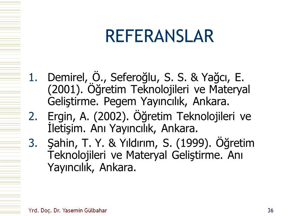 REFERANSLAR Demirel, Ö., Seferoğlu, S. S. & Yağcı, E. (2001). Öğretim Teknolojileri ve Materyal Geliştirme. Pegem Yayıncılık, Ankara.
