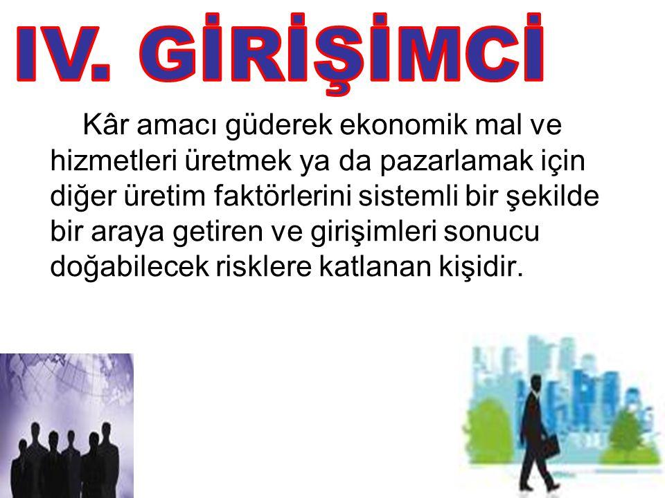 IV. GİRİŞİMCİ