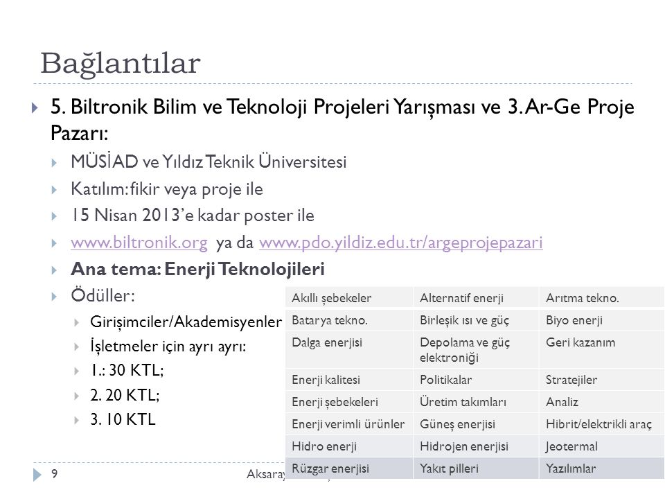 Bağlantılar 5. Biltronik Bilim ve Teknoloji Projeleri Yarışması ve 3. Ar-Ge Proje Pazarı: MÜSİAD ve Yıldız Teknik Üniversitesi.