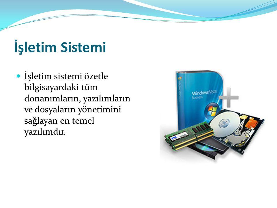 İşletim Sistemi İşletim sistemi özetle bilgisayardaki tüm donanımların, yazılımların ve dosyaların yönetimini sağlayan en temel yazılımdır.