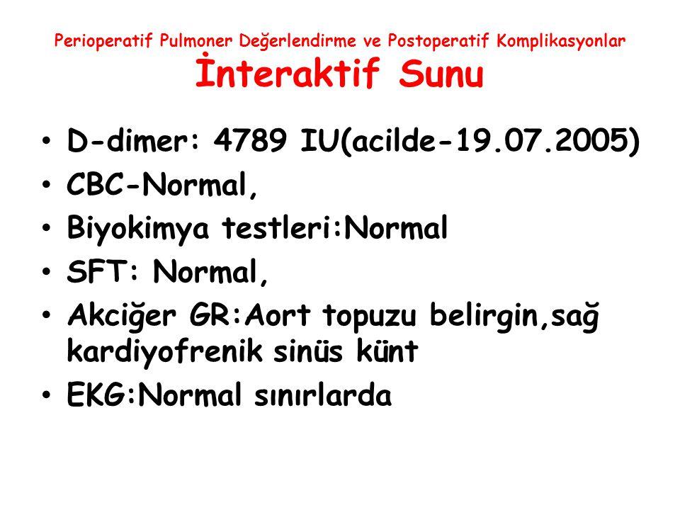 Biyokimya testleri:Normal SFT: Normal,