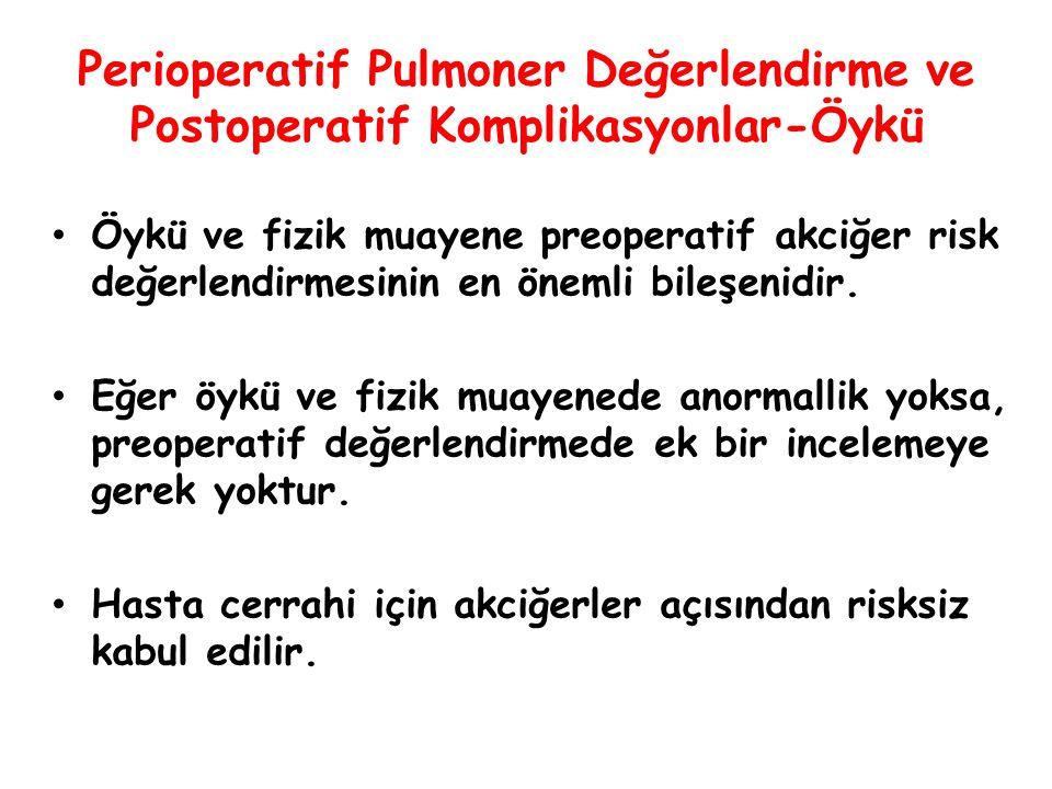 Perioperatif Pulmoner Değerlendirme ve Postoperatif Komplikasyonlar-Öykü