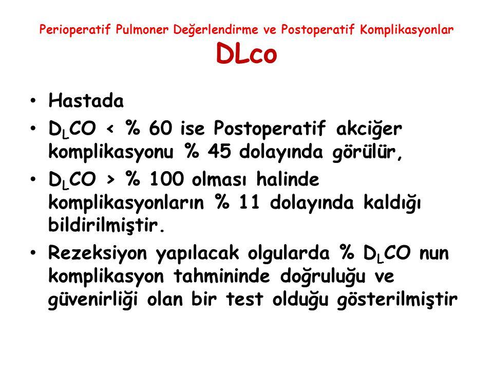 Perioperatif Pulmoner Değerlendirme ve Postoperatif Komplikasyonlar DLco