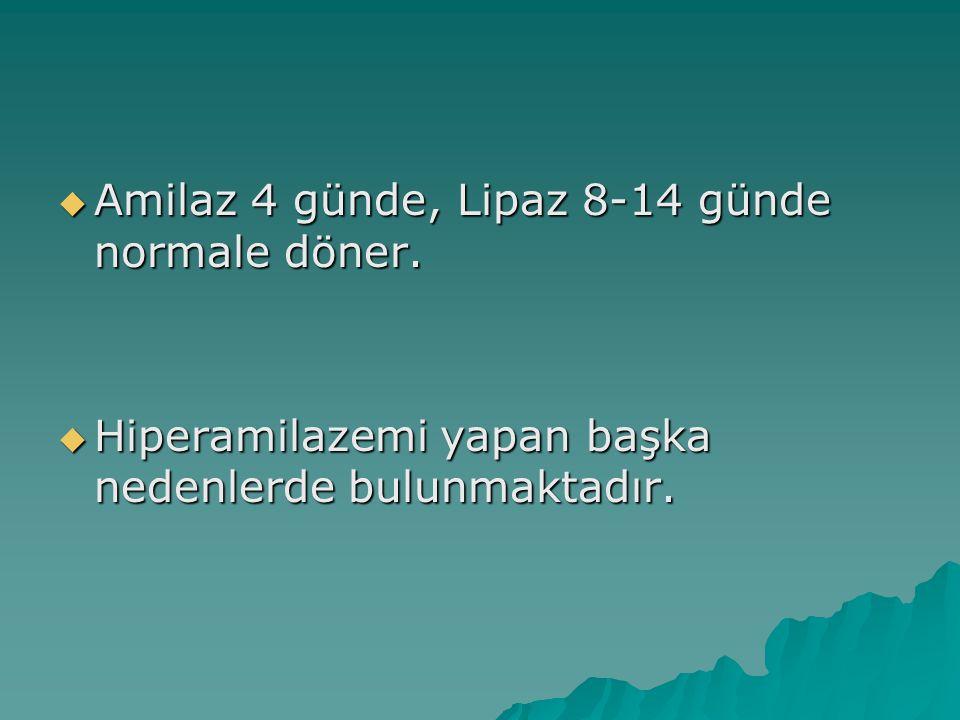 Amilaz 4 günde, Lipaz 8-14 günde normale döner.