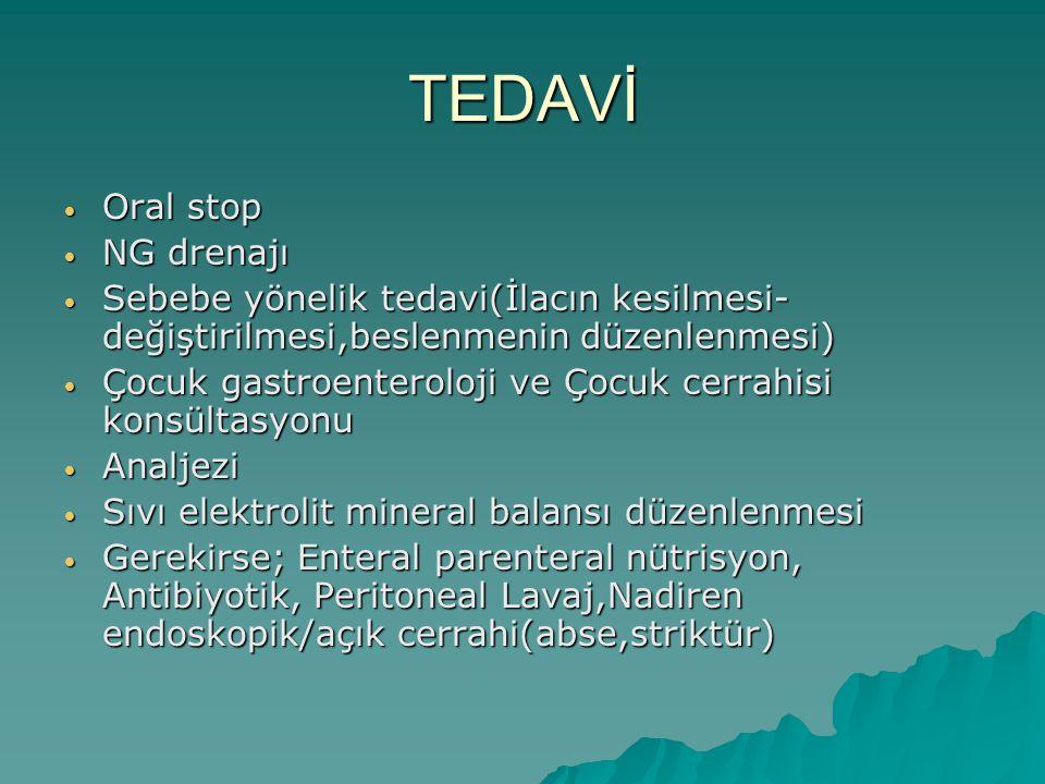TEDAVİ Oral stop NG drenajı