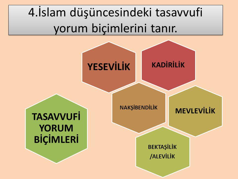 4.İslam düşüncesindeki tasavvufi yorum biçimlerini tanır.