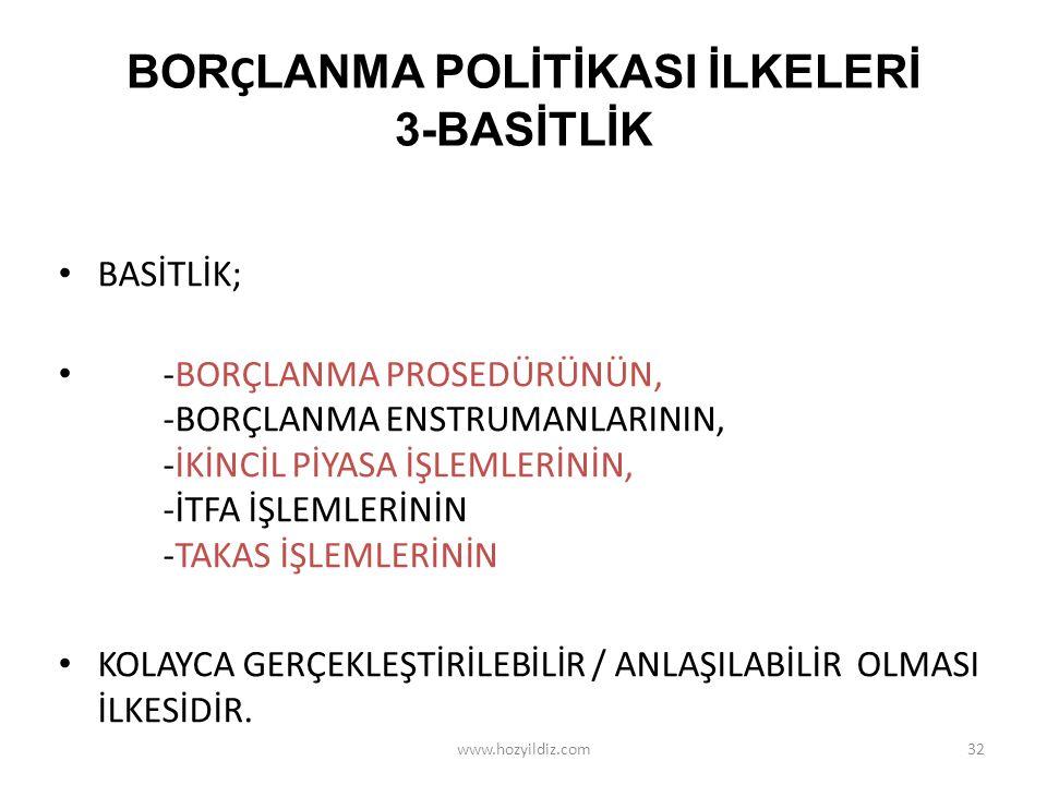 BORÇLANMA POLİTİKASI İLKELERİ 3-BASİTLİK