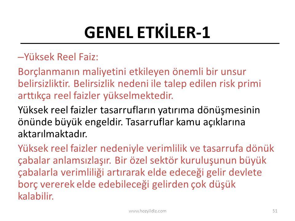 GENEL ETKİLER-1 Yüksek Reel Faiz: