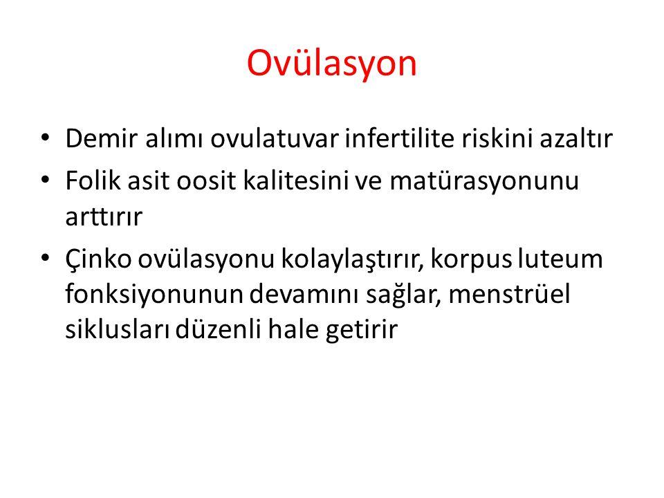 Ovülasyon Demir alımı ovulatuvar infertilite riskini azaltır