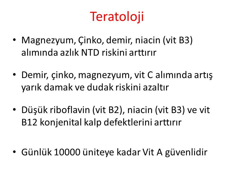 Teratoloji Magnezyum, Çinko, demir, niacin (vit B3) alımında azlık NTD riskini arttırır.