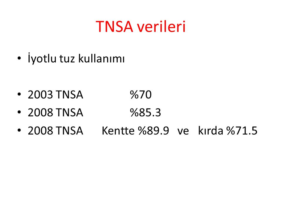 TNSA verileri İyotlu tuz kullanımı 2003 TNSA %70 2008 TNSA %85.3