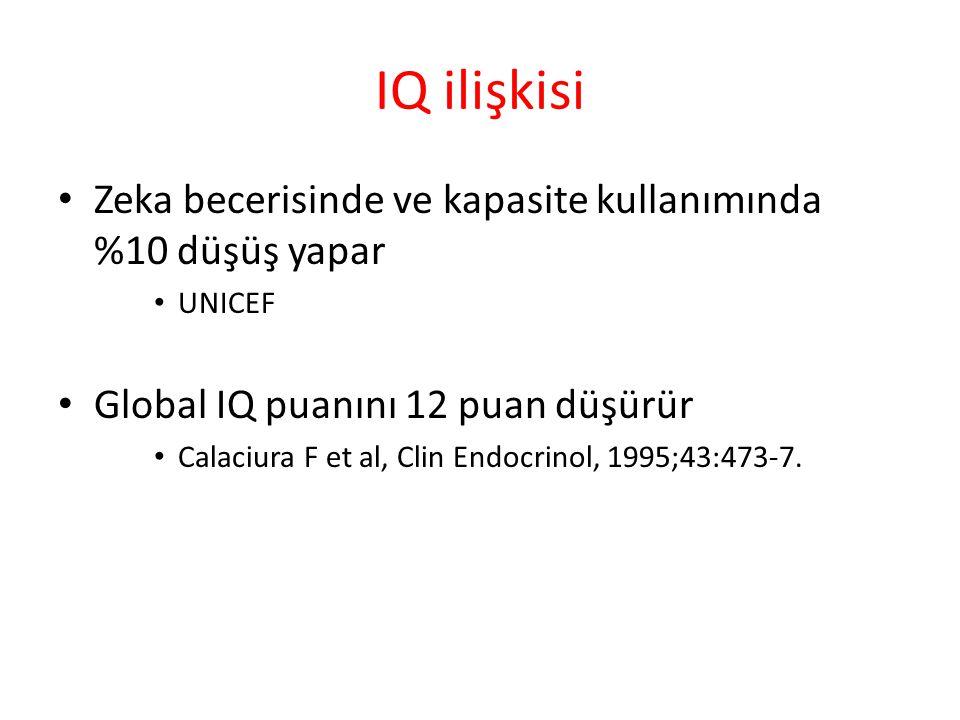 IQ ilişkisi Zeka becerisinde ve kapasite kullanımında %10 düşüş yapar